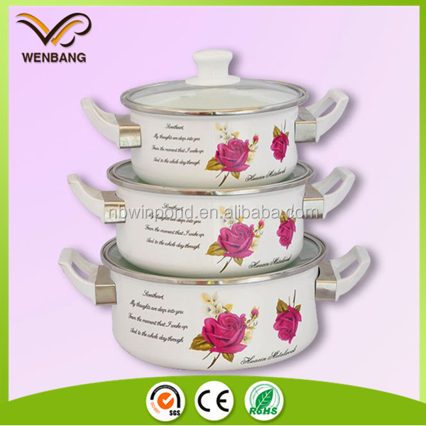 high quality wonderful printing cookware sets with bakelite handles enamel casserole set