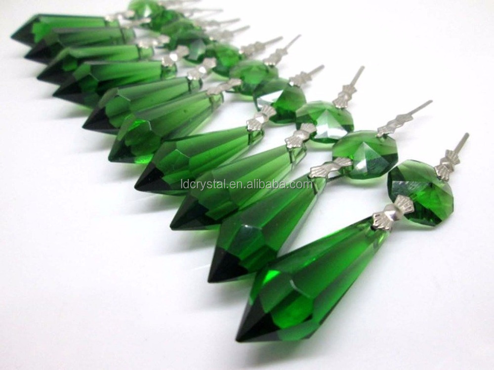 green 38mm crystal prisms chandelier drop pendants lamp candelabra parts wedding decoration