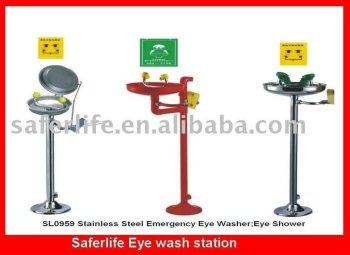 safety shower Face shower Pedestal Mounted Eyewash Station Stainless Steel Emergency Eye Wash Shower