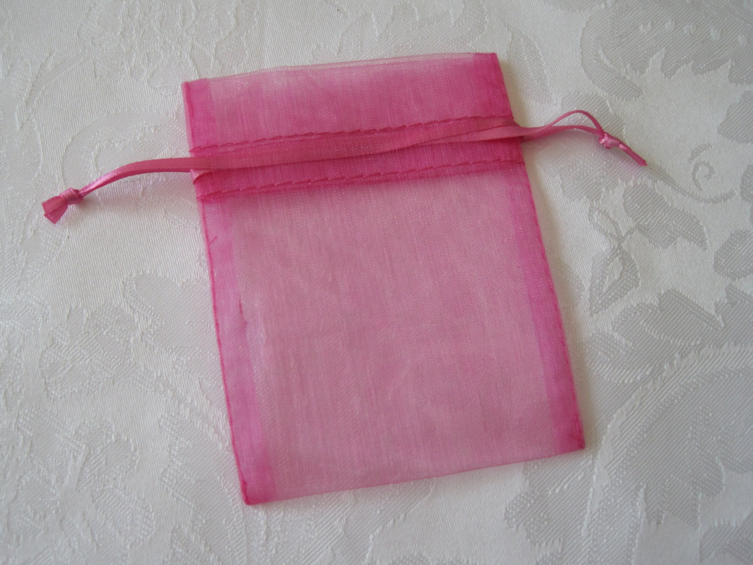 Pink organza jewelry bridesmaid gift drawstring pouch bags