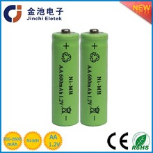 China supplier 1.2V 600 mah nimh rechargeable battery