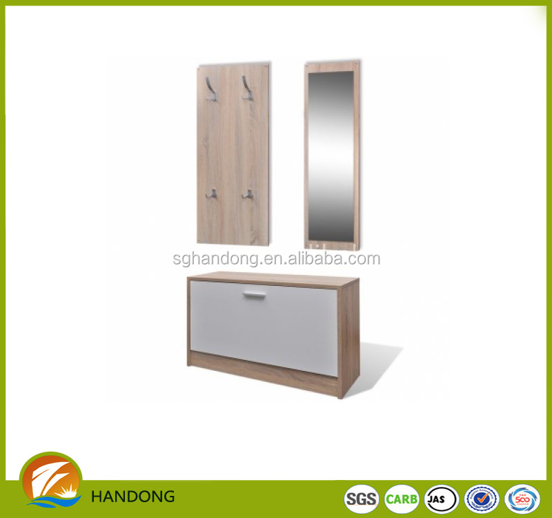 latest wooden furniture designs KD shoe cabinet with mirror