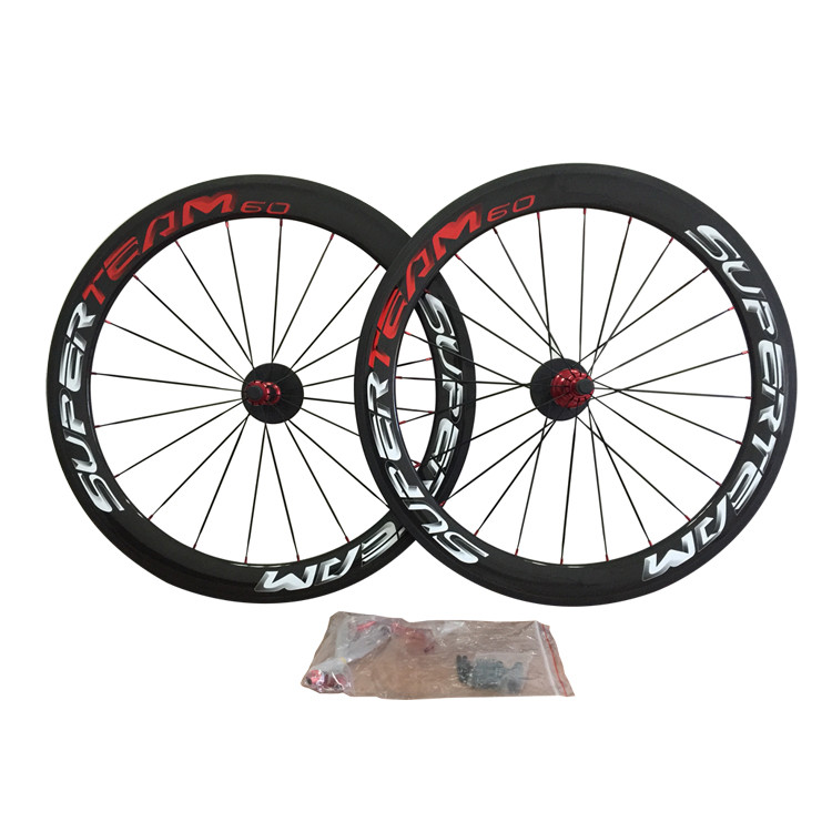 3k glossy red/white carbon wheels 50mm road bike carbon wheel hot sale