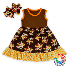 New Arrival ! Baby Frock Designs Wholesale Baby Thanksgiving Day Cotton Clothes Newborn Baby Girls Sleeveless Dress