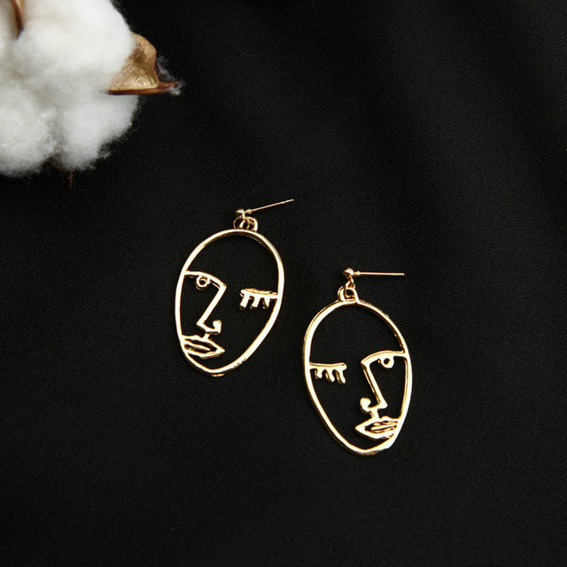 Abstract Art Drop Statement Gold Picasso Face Wire Earrings for Women