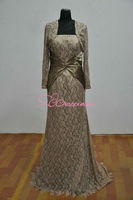 long sleeves vintage champagne mother of the bride dress