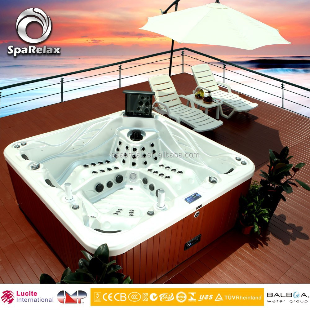 EC ISO9001 Banboa Lucite European Design Sex Japan Massage Red Hot Tub with Sex Video TV