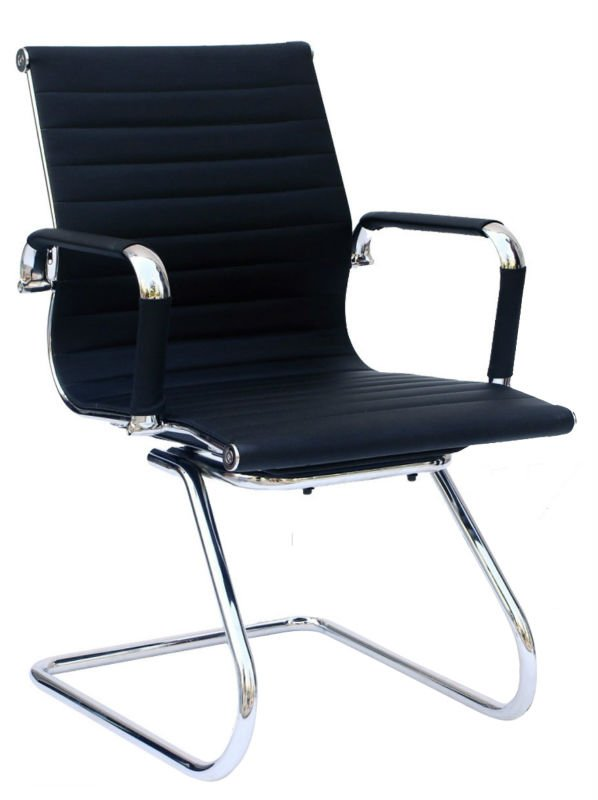 E906# Synthetic leather low back executive office leather chair without wheels