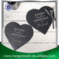 Factory Direct Sale Handmade Decorative 25*25*0.5cm Set of 2 Heart Shape Customized Laser Design Slate Heart Shape Wholesale