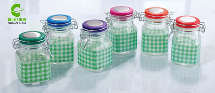 100ml Square Clip Top Glass Spice Jar