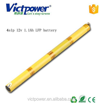 Lifepo4 battery pack 4s1p 12v 1100mah battery pack