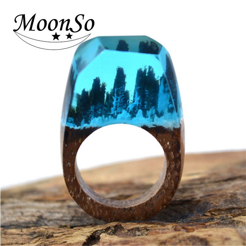 2017 New Hot Exquisite Secret Wood Rings with Miniature Landscapes in Resin Handmade Wood Ring Moonso AR-001