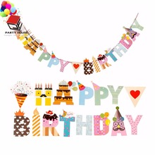 Happy Birthday Party Paper Upper case Letter String Banner Hanging Bunting Flag