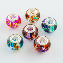 Mixed Color Rondelle Spray Painted Glass European Large Hole Beads, with Silver Brass Cores