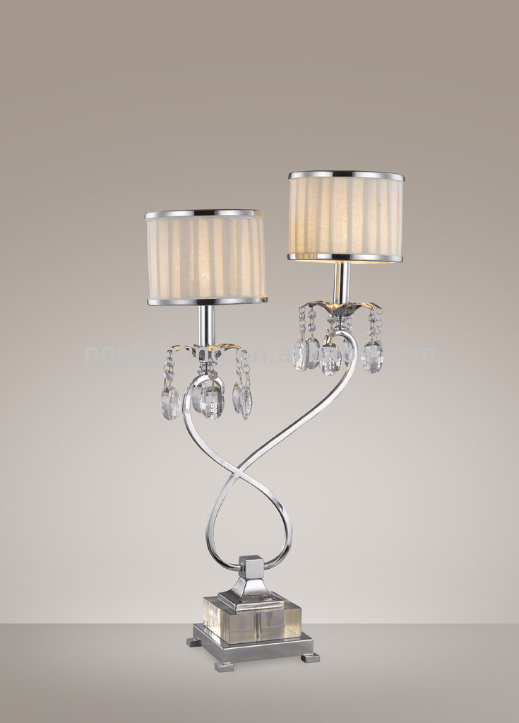 Arts and crafts double heads crystal decoration table lamp