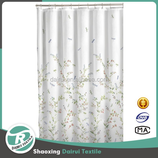 Dragonfly Garden Semi Sheer Fabric Printed Shower Curtain