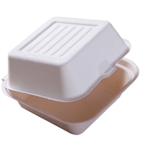 Biodegradable disposable compostable sugarcane bagasse paper pulp 6.5 inch lunch box