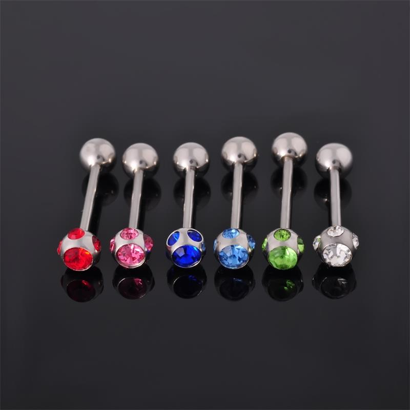 Fashion piercing jewelry surgical steel straight barbell tongue ring with multiple gems