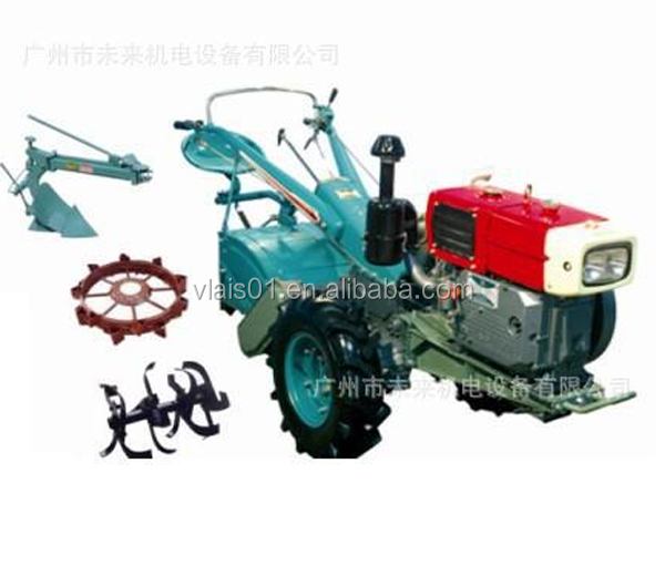 Best selling China tractors agricultural 2WD waking mini tractor15hp with plough and tiller