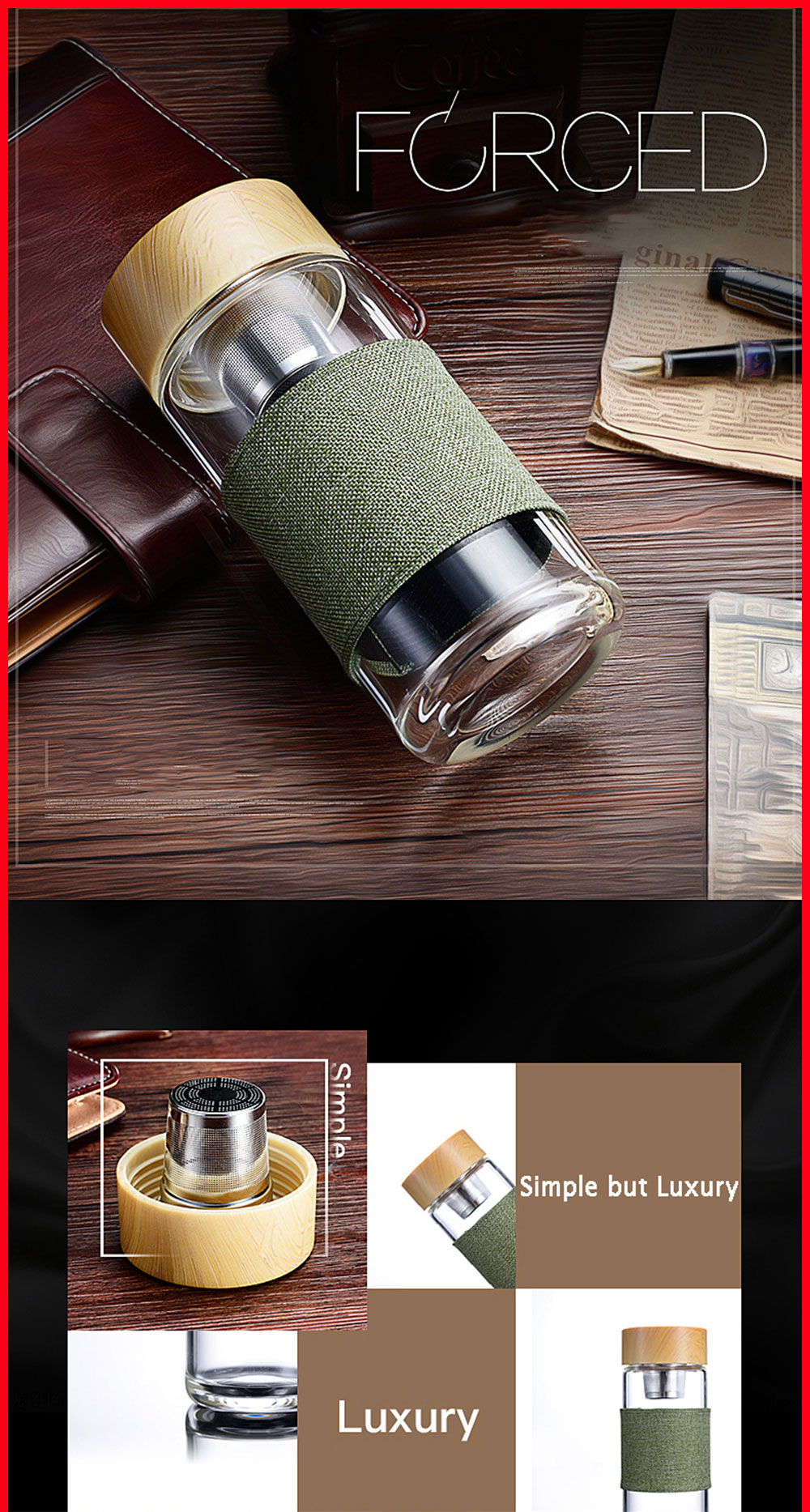 Borosilicate Glass Drinking Water Bottle with Stainless Steel Tea Filter Infuser Leakproof My Water Bottle with Cover Bamboo Lid