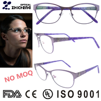 fashion design women fancy purple oval metal glasses frame with beautiful dimond