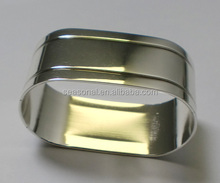 Wholesale stock quick delivery Flat Oval Brass Napkin Rings Wedding Decoration Party Favor