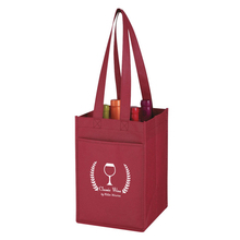 Reusable high quality non-woven shopping bag eco-friendly wine bag with 4-bottle divisions