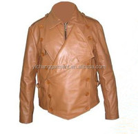 2017 latest style brown fashion leather jacket made of 100% sheepskin for men