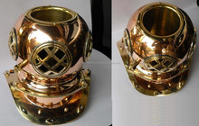 Nautical Brass and Copper 12 inch Beer and champagne bottles ice bucket Diving Helmet, Item number Sai-1628
