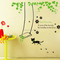 Lovely cat and swing wall decal sticker for home decoration in stock