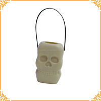 Wholesale Halloween Plastic Skull Shape Small Candy Bucket With Handle For Festival Atmosphere