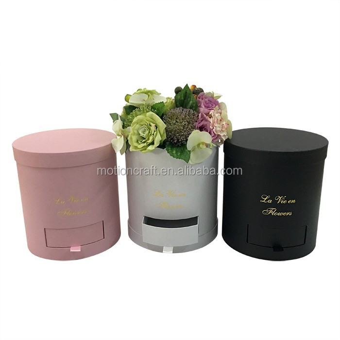 Pure color round carboard flower gift boxes with drawer, <strong>black</strong>/white/pink color