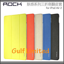 Rock PU Leather Transparent Back Cover stand case for iPad Air 2