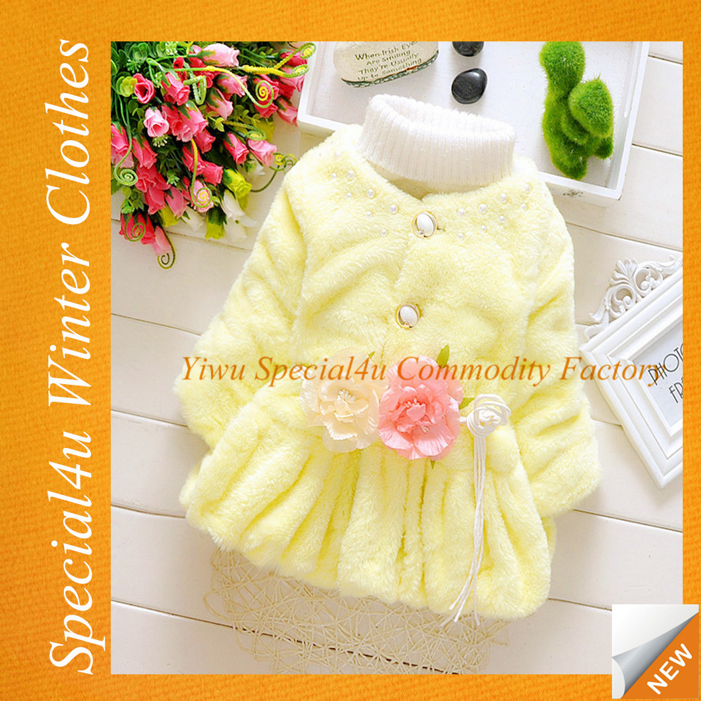 Girls baby fleece coat three color kids warm winter fur children coat SY-489