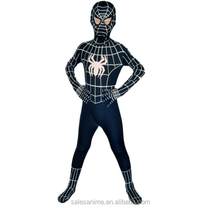 Cheap kids cosplay black spiderman costume with high quality
