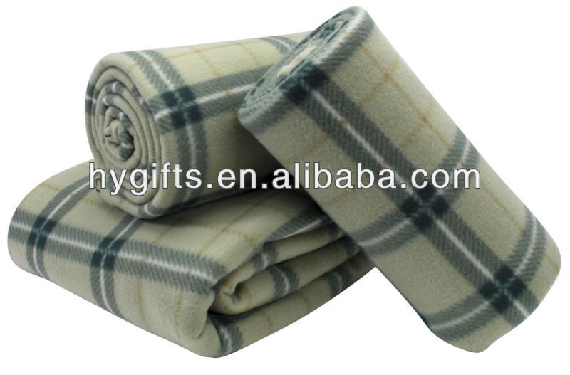 Customized plaid print polar fleece blanket