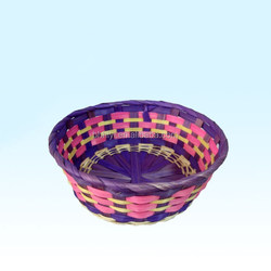 Wholesale Cheap Bamboo Woven Shallow Storage Basket Tray Food Fruit Sundries Basket Custom Size
