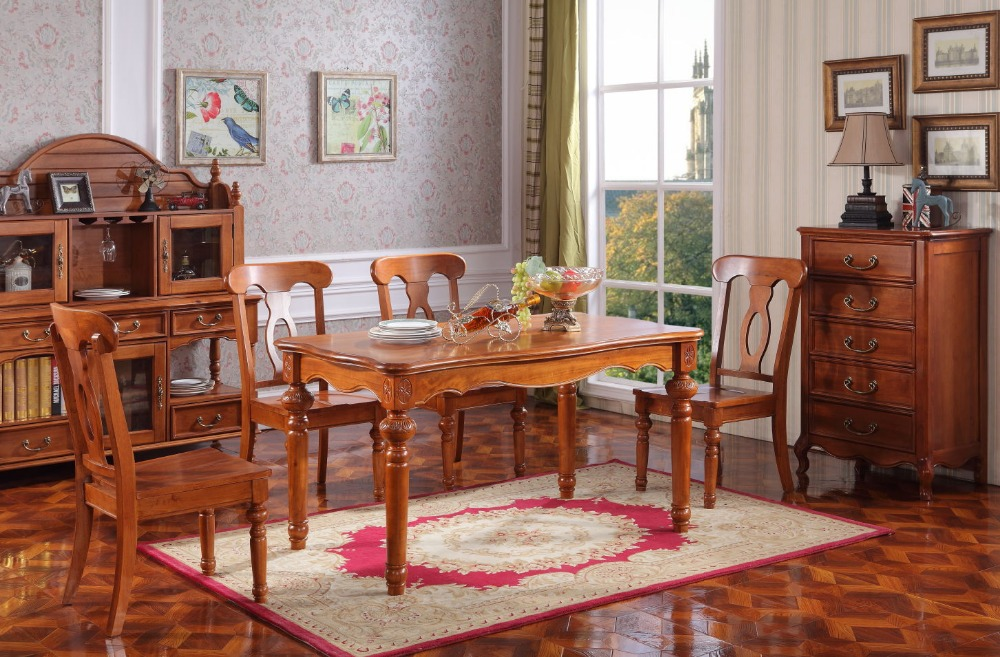 Simply style chinese wooden dining table set for dining room furniture