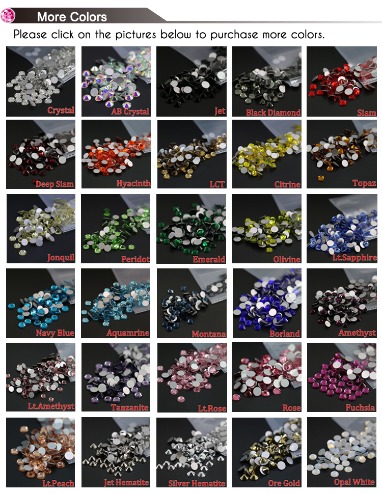 XULIN All Size AAA High Quality Non Hot Fix Flat Back Crystal Strass for Nail Art, MS101 Crystal Color