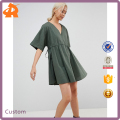 custom make your own v neck girls' dress,high quality short linen dress