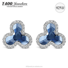 T400 fashion jewelry 925 sterling sliver stud earrings made with swarovski elements