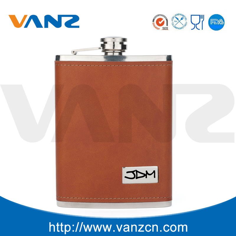 Leather wrapped stainless steel whisky hip flask
