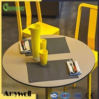 Amywell Top Selling Wooden Grain Fireproof 10mm Hpl Laminate Restaurant Table