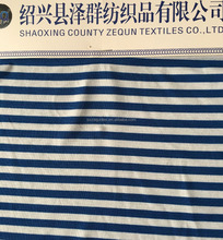 shaoxing zequn textile polyester spandex knit fabric yarn dyed blue and white stripe jersey fabric for skirt and T-shirt