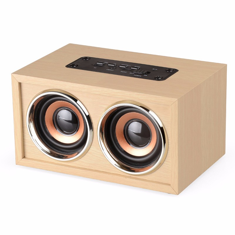 MiNi Wooden Wireless Bluetooth Speaker HIFI Speaker 3D Dual Loudspeakers Surround Portable USB Charging Original ecology
