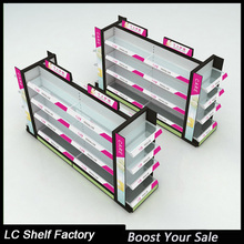 exhibition cosmetic display floor stand with LED lights from guangdong factory