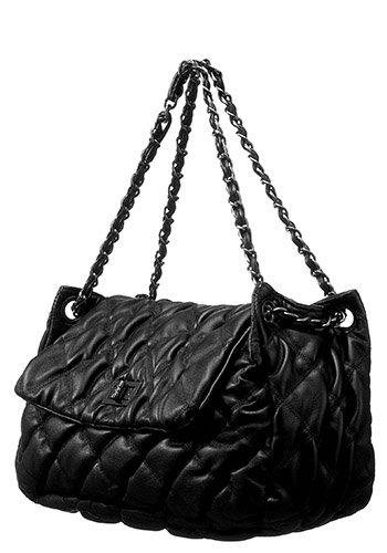 Kate M Classic Quilted Flap Bag Black