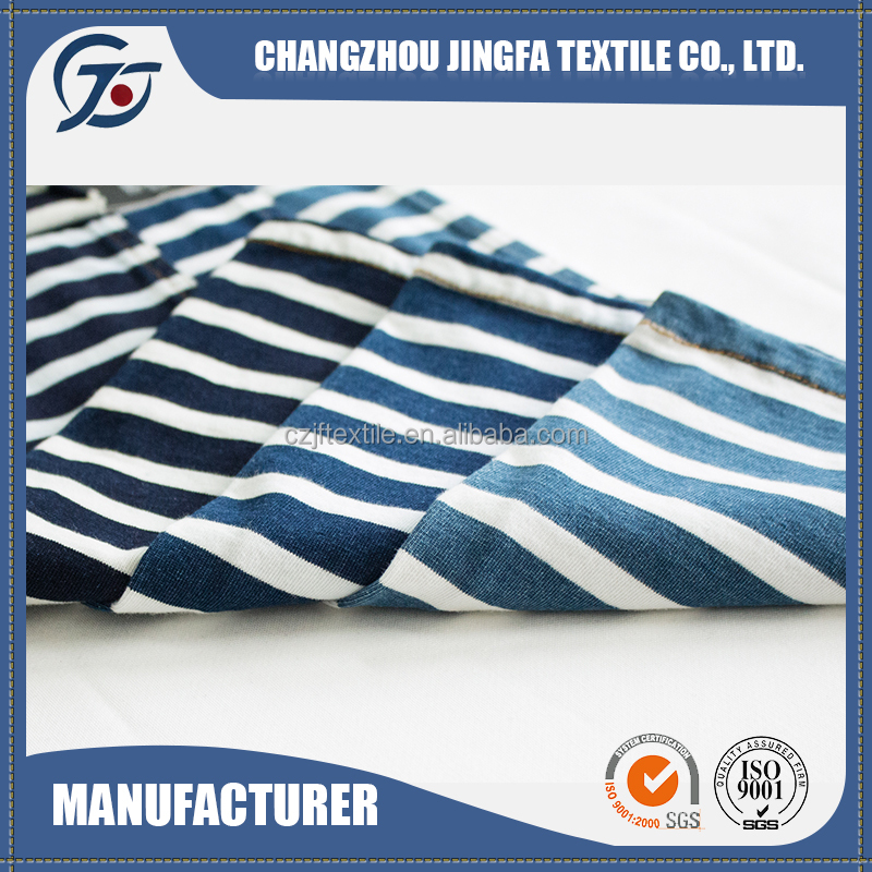 JF16171 New Fashion China 100% cotton white and blue striped fabric
