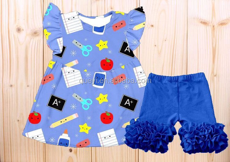 2017 BABY CLOTHES SET SUMMER GIRLS RULER TOP BACK TO SCHOOL BOUTIQUE OUTFITS