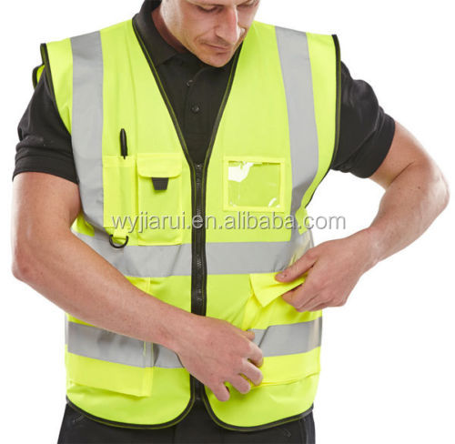 chalecos reflectivos safety vest with pen pockets and PVC name card pocket